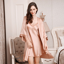 Sexy Silkworm Silk Sleeping Robe Two-Piece Sets Female 100% Sleepwear Women Soft Comfortable Bathrobe Kimono YE1711