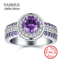 YANHUI Fashion Women Engagement Ring Purple 5A Zircon CZ 925 Sterling Silver Birthstone Wedding Band Rings