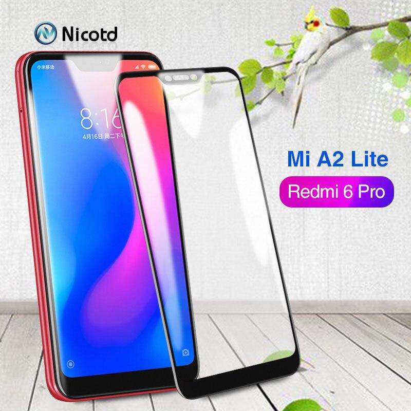 Nicotd Tempered Glass for Xiaomi Mi A2 Lite 9H Full Cover Film Screen Protector for Xiaomi Redmi 6 pro Glass for Xiomi Mi A2Lite (2)