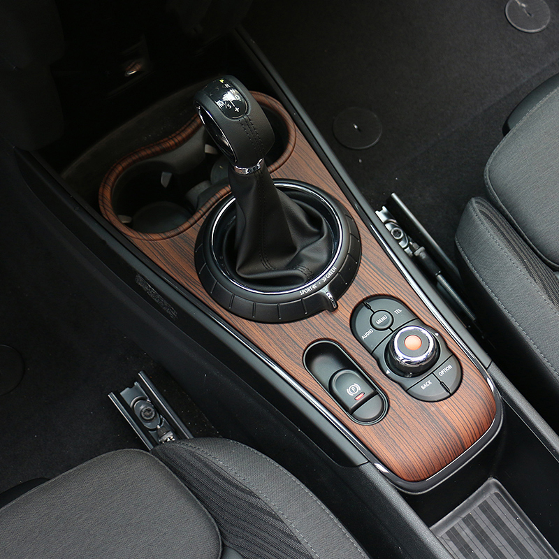Wood Grain Car Interior Mouldings Center Console Gear Shift Panel ABS Stickers Cover For Mini Copper Countryman F60 Auto Styling car carbon fiber color abs interior mouldings inner gear shift covers panel trim decal for honda civic 2006 2011 mt car styling