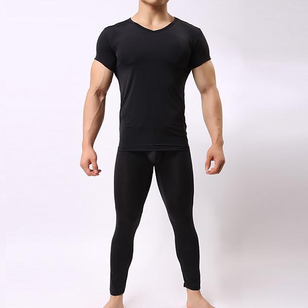 Hombres Sexy 1 Pijamas Set Pijamas Ropa de dormir ropa Salón pura ultra-cosa de corte 3D Tight Pantalones lencería Erótica