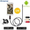 2016 Nova Câmera de Inspeção Cobra Tubo Endoscópio Endoscópio 5.5mm Pinhole USB Endoskop 2EM1 OTG Android Endoscópio Android Telefone PC
