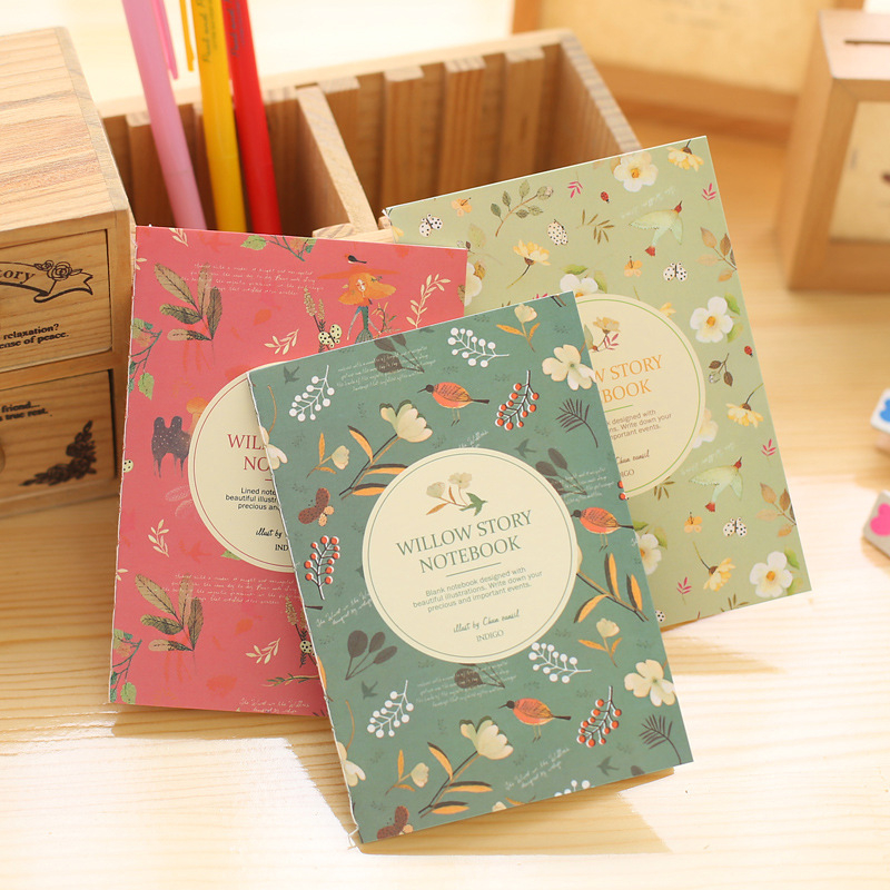 DL Korean stationery new Korean flowers and birds pocket book Taobao gift 64K notebook customization teaching equipment ...