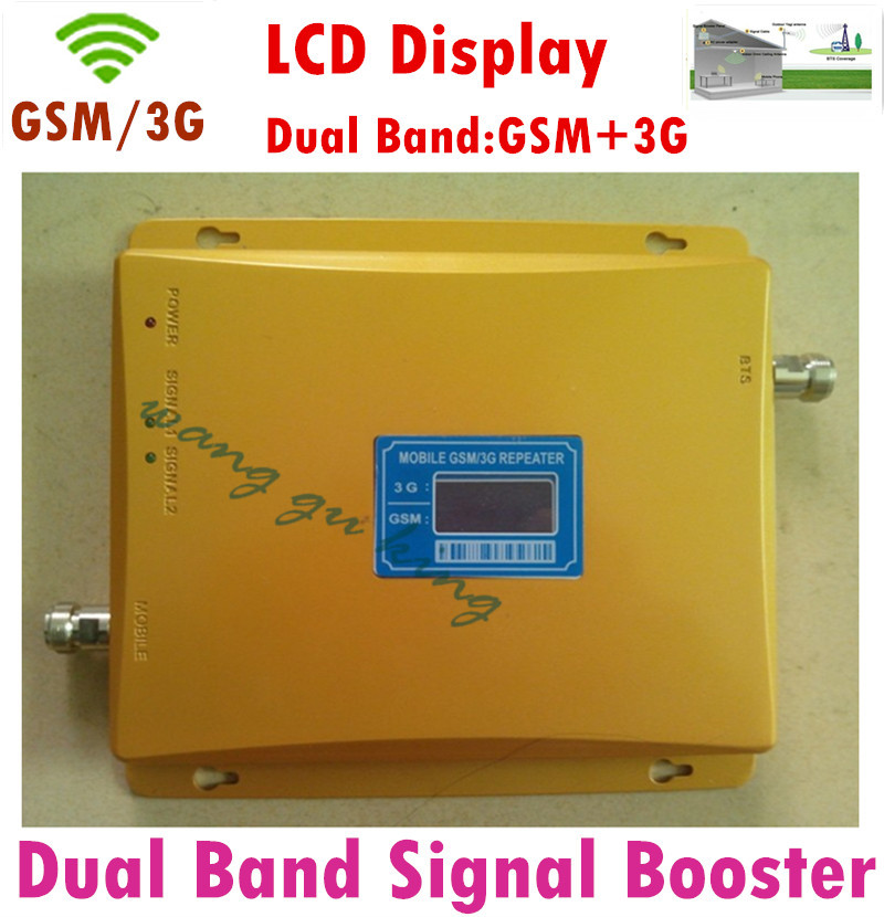 HOT LCD Display 3G W-CDMA 2100MHz GSM 900Mhz Dual Band Cell Phone Signal Booster GSM 900 2100 UMTS Signal Repeater Amplifier