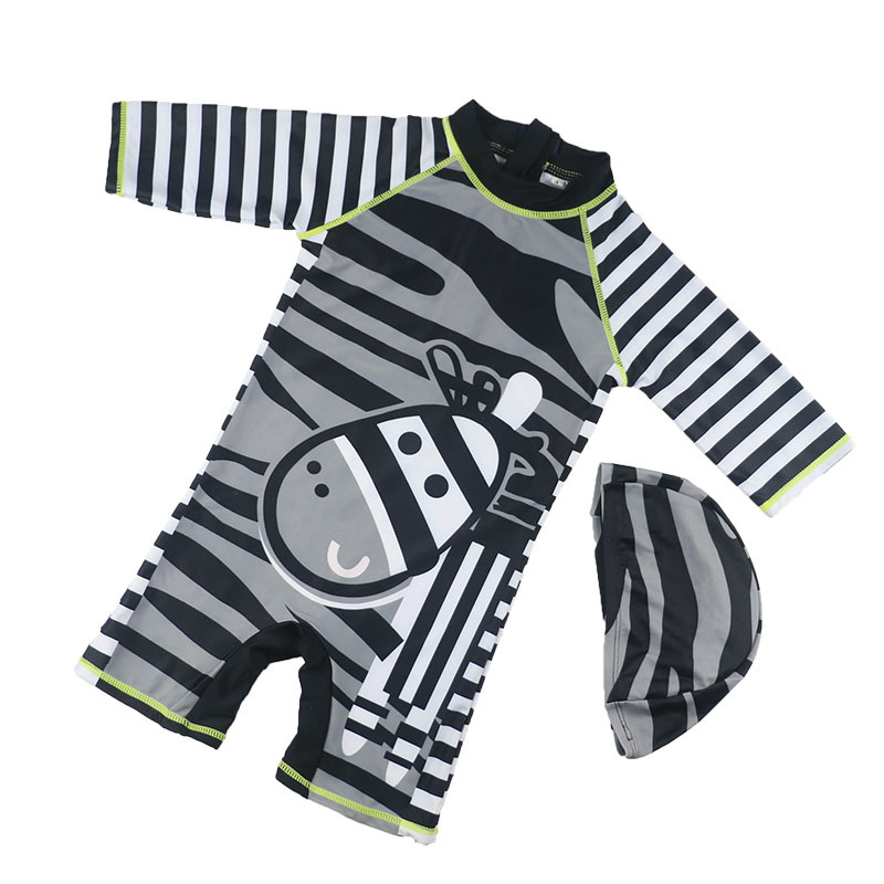 Baby Boys Swimwear UV Sun Protection One Piece Zebra Stripe Print Baby Kid Bathing Suit Beachwear Swimsuit Diving Surfing Wear