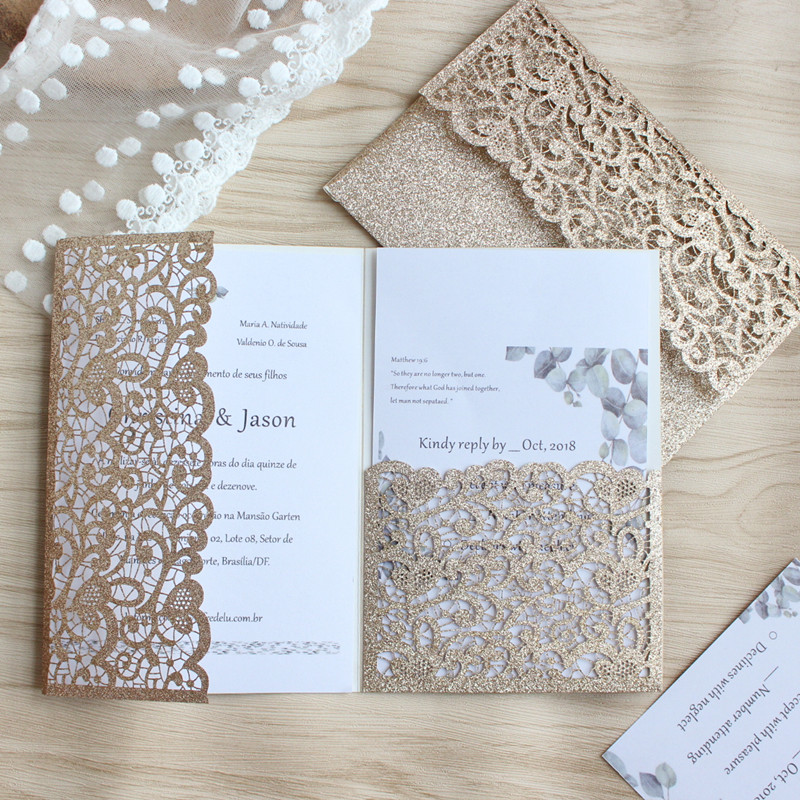 Luxury invitations wedding marriage rose gold silver glittery shiny invitation shell personalized made