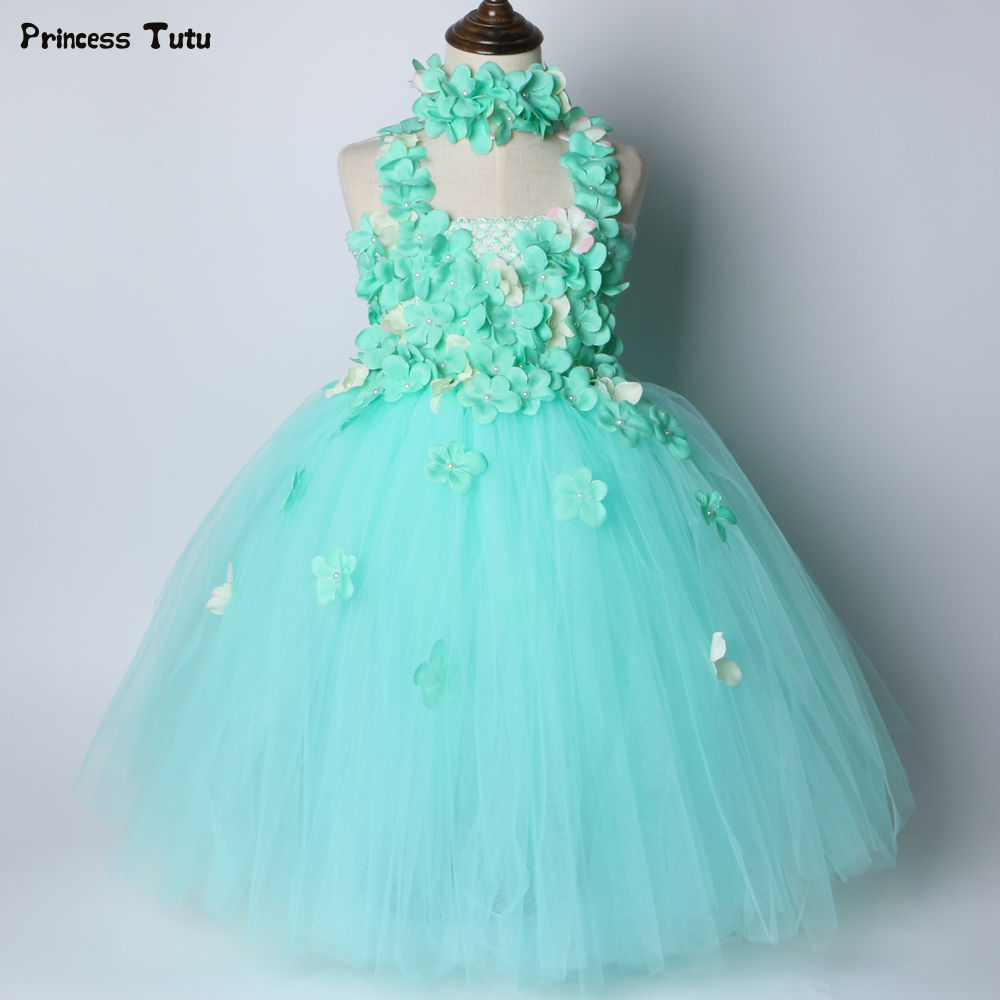 Mint Green Flower Girl Tutu Dress Tulle Girl Party Dress Kids Princess Fairy Dress Ball Gown for Girls Wedding Flower Girl Dress baby girl easter tutu dress mint green with pink rose girl flower dreas birthday wedding party tutu dress for baby girl
