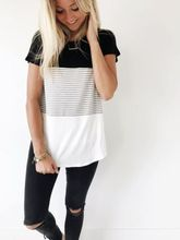 4 Colors Summer Fashion Maternity T-shirt Loose Contrast Color Striped  O-Neck Short Sleeve Shirt Blouse Clothes For Pregnant