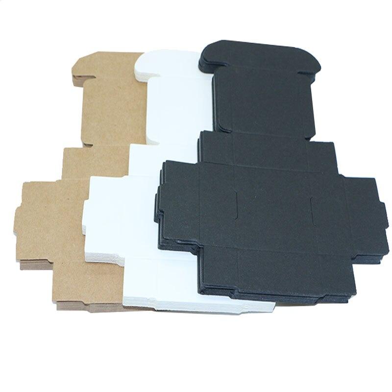 10pcs/lot Small Kraft Paper Box Brown Handmade Soap Box White Craft Paper Gift Box Black Packaging Jewelry Box Cardboard Carton