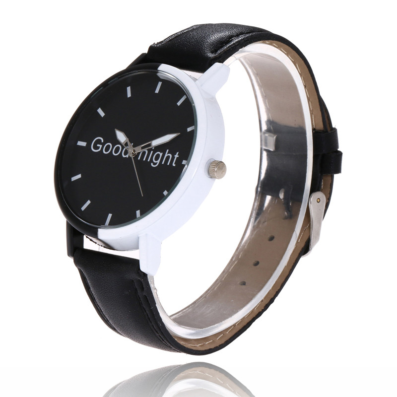 FUNIQUE 2018 Fashion Casual Women Men PU Leather Wrist Watch Letter Goodnight Black Dial Quartz Watch Dropshipping Girls Watch