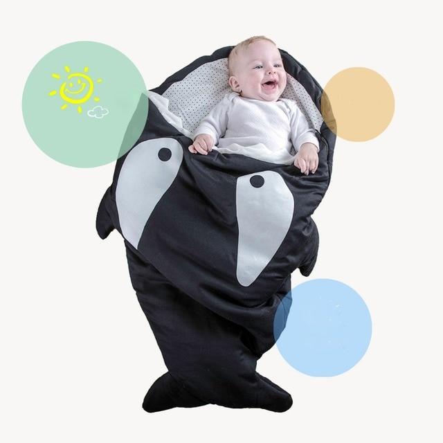 S013 Newborns Winter Strollers Bed Swaddle Blanket  Shark Baby Sleep Bag Winer Baby Sleep Sack Warm Baby Blanket Warm Swaddle