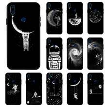 3D DIY Painted Black Case For Meizu 16 Plus X Note 9 8 Cases Space Moon Astronaut Phone Cover for M3 M5 M6 Bumper