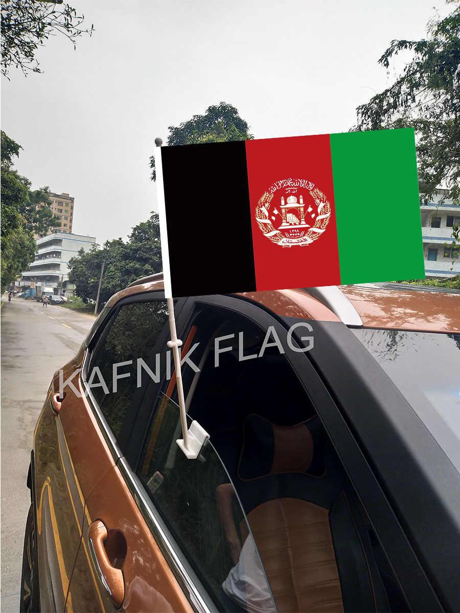 KAFNIK, 30*45 cm Afeganistão Bandeiras e Banners Janela Do Carro Países Mundo Bandeiras Feitas Sob Encomenda com 43/52 cm mastro para a decoração do carro