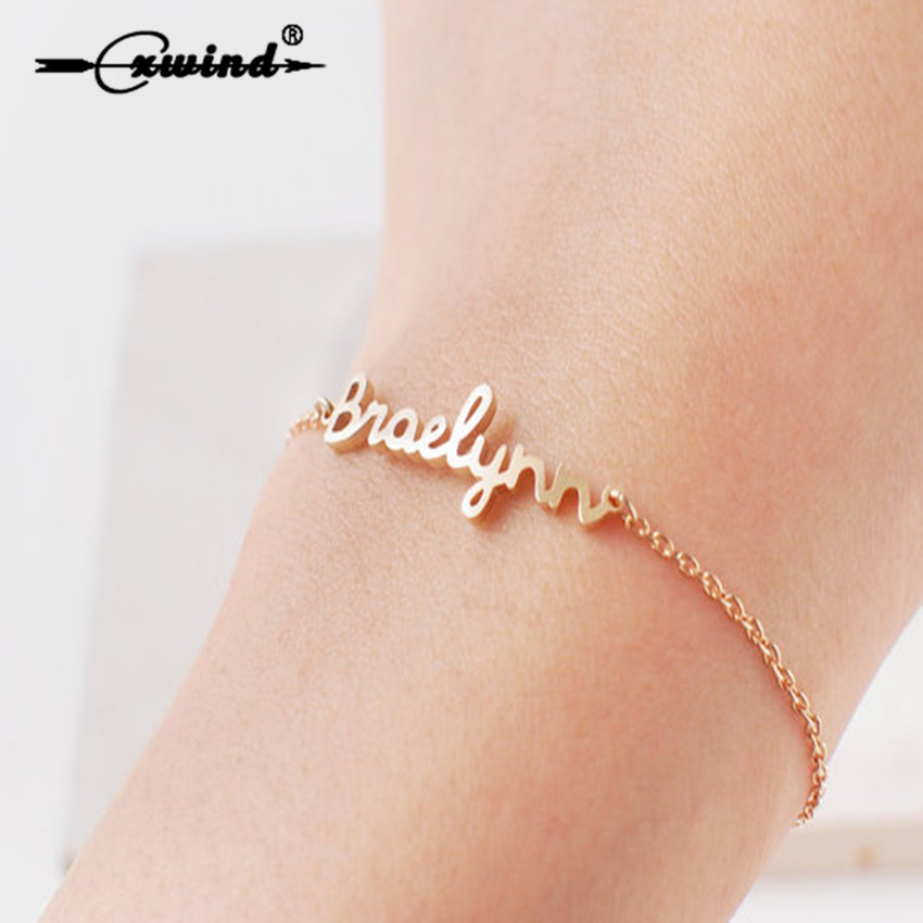 Cxwind Personalized Stainless Steel Engrave Letter Name Bracelets for Men Women Custom Name Bracelet Birthday Gift Jewelry