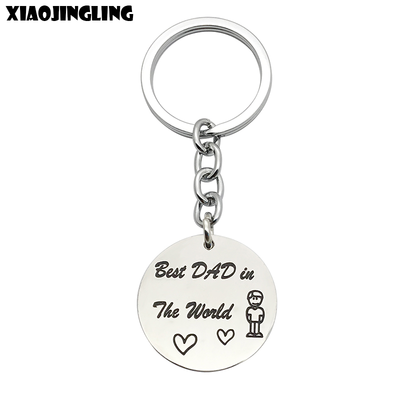 XIAOJINGLING Fashion Stainless Steel Keychain Round Charm Key Ring Best DAD in The World Fathers Day Gift Key Fob Accessories