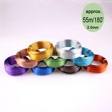 Bobine de fil souple coloré en aluminium artisanal, 55m, 180ft, 60yd de 2mm, fil de jauge 12 pour fournitures de bijoux, livraison gratuite