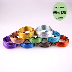 wholesale 55m 180ft 60yd of 2mm colored aluminium handcraft soft wire coil 12 gauge wire for jewelry supplies free shipping