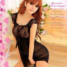 Sexy Black Lingerie Floral Lace Top Babydoll Chemise Dress Nightie S M L 6-12