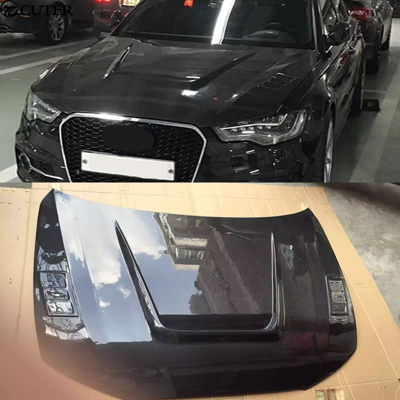 A6 C7 S6 Rs6 Carbon Fiber Engine Hood With Holes Car Body Kit For Audi A6 C7 S6 Rs6 12 16