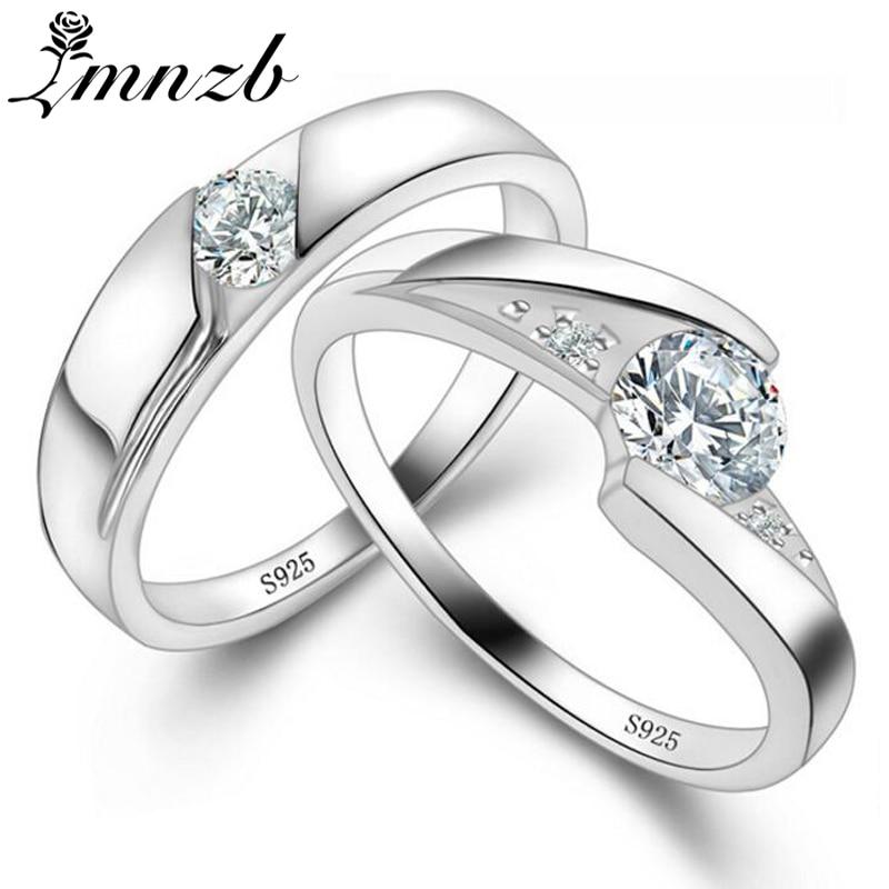 LMNZB 100% Original 925 Argent Anneaux De Mariage pour Hommes et Femmes réel Top 5A CZ Zircon Anneaux Amant Couple Engagement Bijoux LR936