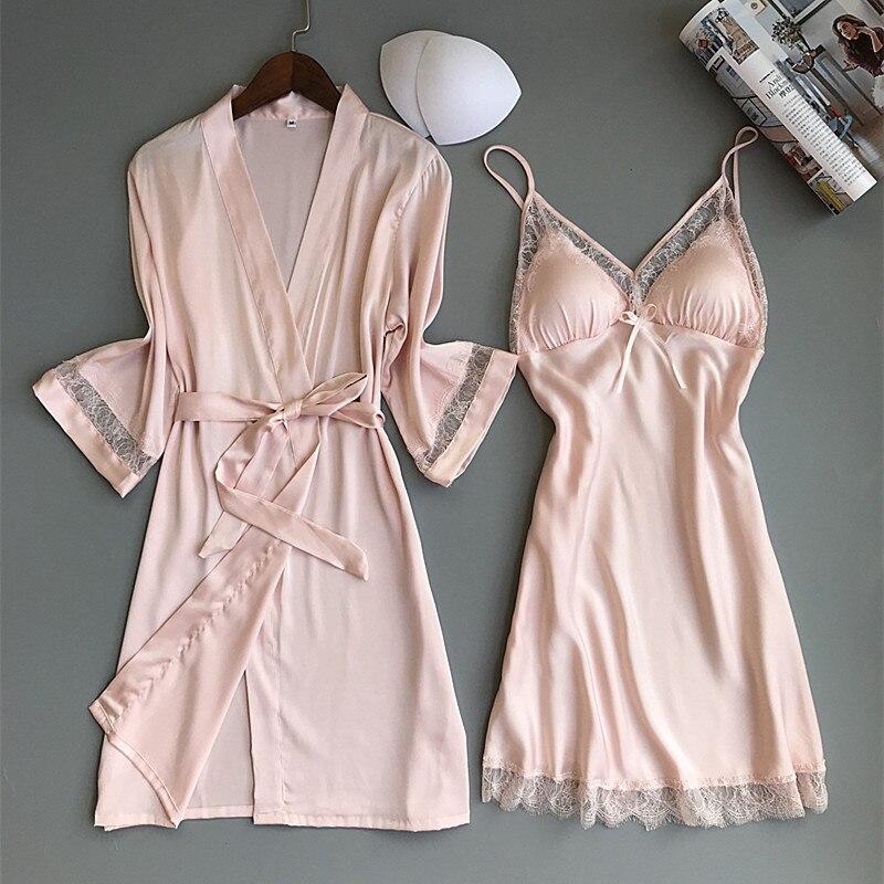 Women Robe & Gown Sets Sexy Lace Sleep Lounge Pijama Long Sleeve Ladies Nightwear Bathrobe Night Dress with Chest Pads