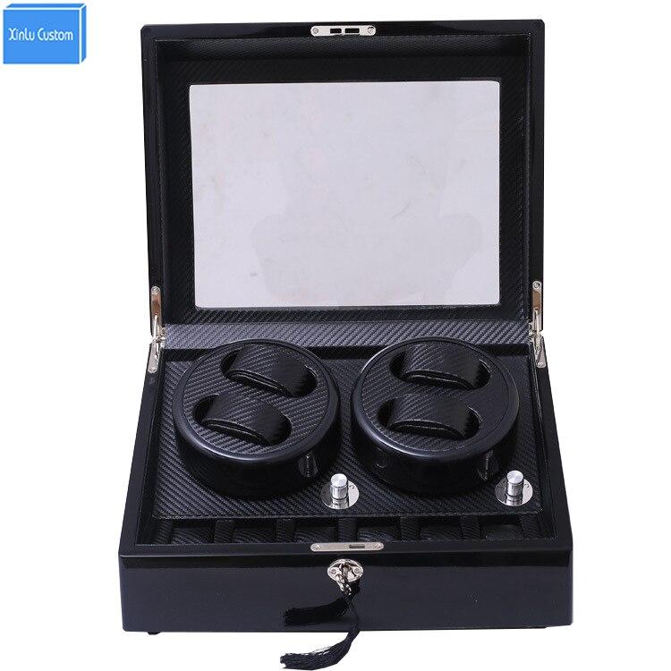 2017 DHL en bois de montre en fiber de carbone accessoires boîte remontoir pour rotateur stockage de montres mouvement ratator boîtes enrouleurs