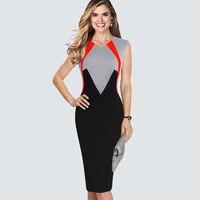 מזדמן ללא שרוולים עבודת גברת משרד עסקי עיפרון אלגנטי שמלת הקיץ HB445 Colorblock נדן Slim Bodycon בנות