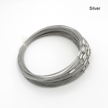 Free Shipping 1mm Silver Steel Wire Cable Cord Rope Chain Choker Necklace Jewelry DIY Findings 10pcs/lot Mixed Color Wholesale free shipping 100m acrolink silver plated 6n occ signal teflon wire cable 0 3mm2 dia 1 1mm for diy