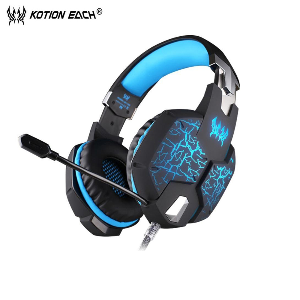 KOTION EACH G1100 Gaming Headset Deep Bass Stereo computador gamer fone de ouvido gaming headphone with microphone LED for PC pk se215 original kz zs1 gaming headset hifi dj headphone with mic bass music 3 5 mm wired fone de ouvido ecouteurs for iphone