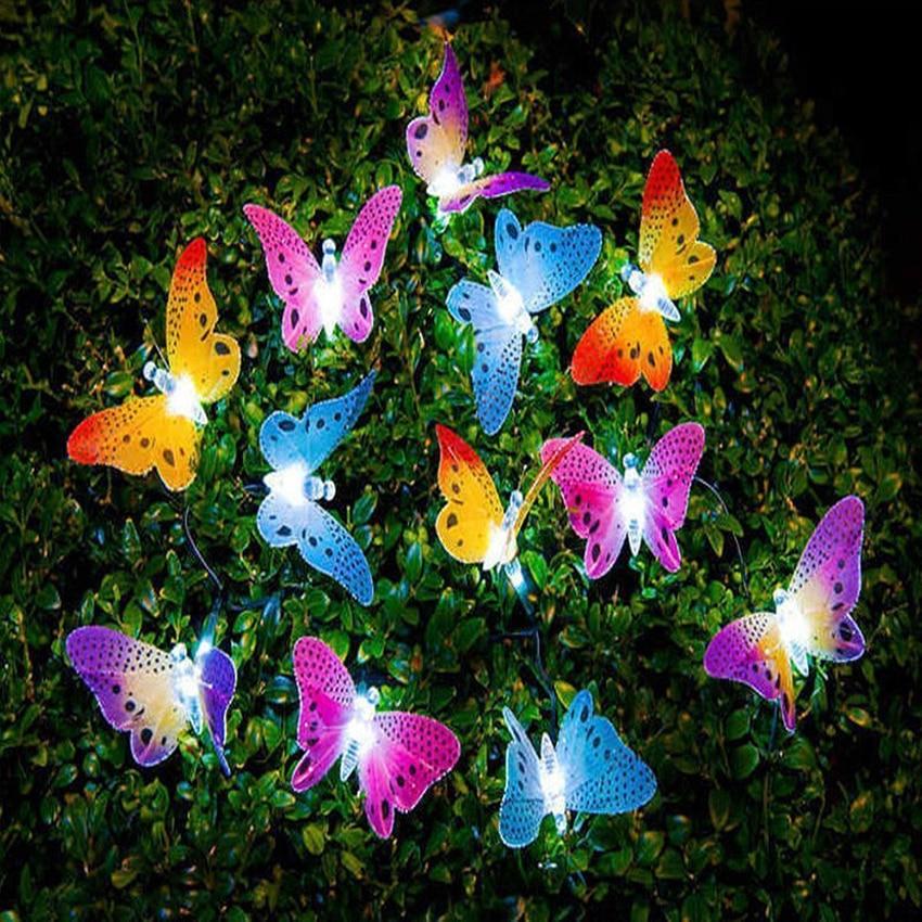 12/20 LED Solar Powered Butterfly Fiber Optic String Light Outdoor Garden Lights Lamp Christmas Holiday Festival Party Light