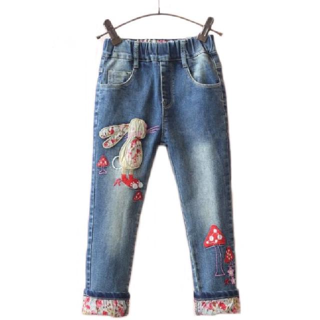 Pantalones Vaqueros de las muchachas de Conejo Conejito 2 T ~ 7 T Niña de Dibujos Animados Pantalones Nuevos Niños Pantalones Remiendo de la Flor de Algodón Elástico de La Cintura Pantalones de los cabritos