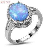 Weinuo Blue Fire Opal Biały Kryształ Pierścień 925 Sterling Silver Top Quality Fancy Biżuteria Wedding Ring Rozmiar 5 6 7 8 9 10 11 A423