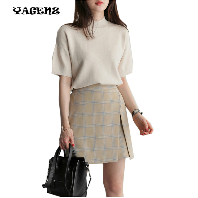 a9a86df8a927 Fashion Women Sweater Skirt Set Spring Autumn Tops+Short Skirts Europe Slim  Two-piece suits Knitted Suit Twinset Women Clothing