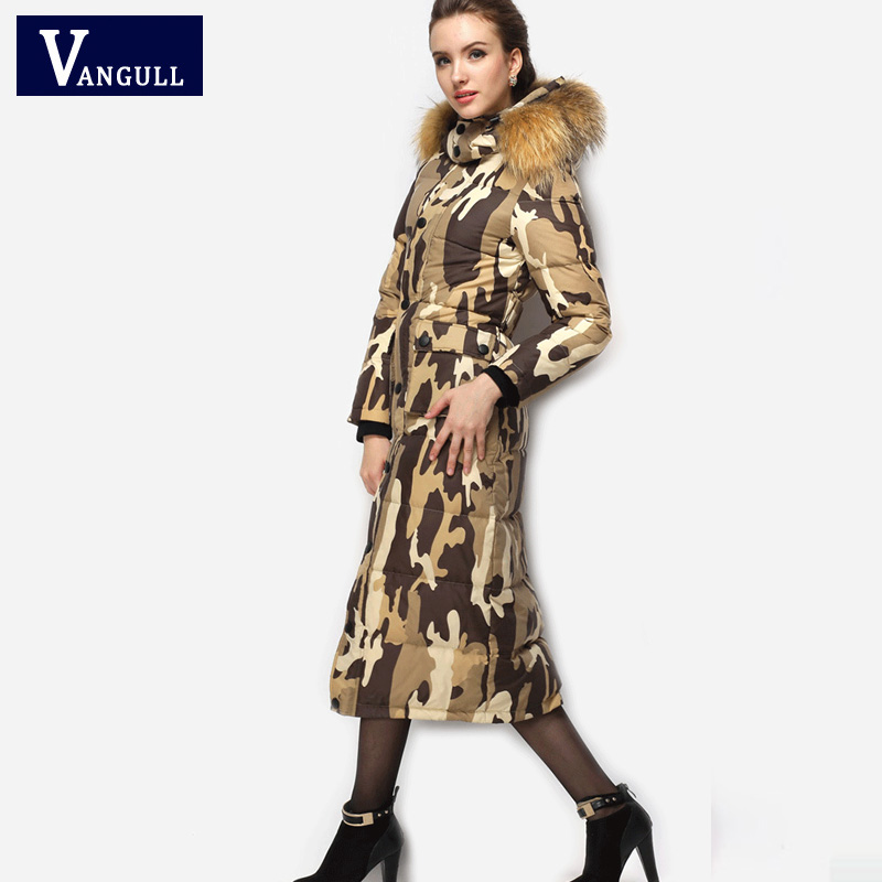 Winter Duck Down Coat Women Thick X-long Long Sleeve Warm Jacket 2017 Women Casual Hooded Leopard Fur Collar camouflage Coat 2016 fashion winter hooded white duck down men jacket thick casual warm hoodies coat for man with camouflage pattern a4268