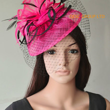 Новая фуксия, ярко-розовый головной убор Sinamay с перьями и перьями для свадеб, гонок, вечерние, Дерби Кентукки