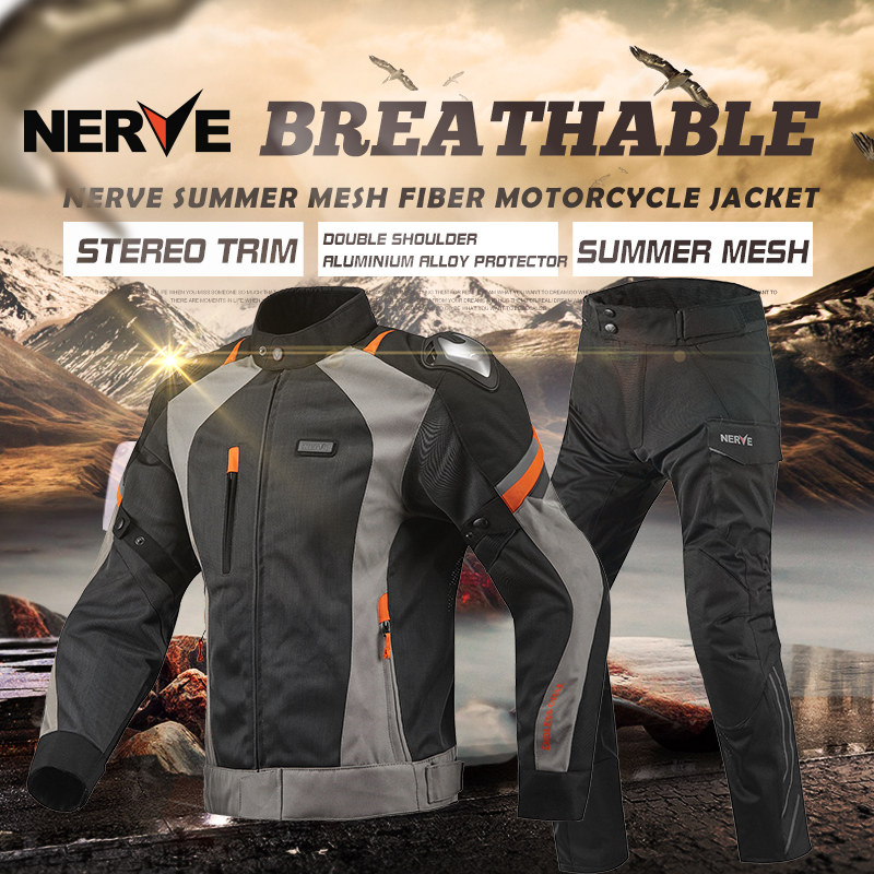 NERVE Men's Motocross combinations Off-Road Jaqueta Oxford Cloth Waterproof Motorcycle Riding Racing Moto protector Jacket PANTS brand nerve motorcycle riding protection pants motocross moto racing gear breathable jeans trousers for men and women summer