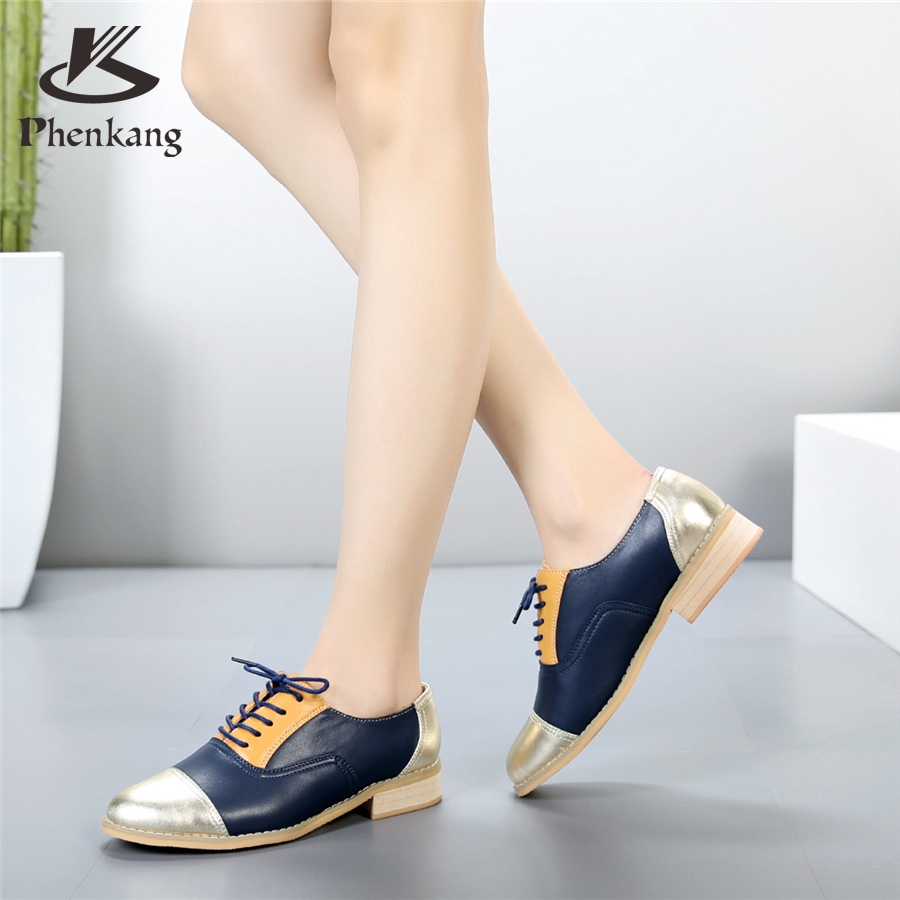 ФОТО Genuine leather big woman US size8.5 retro vintage shoes round toe handmade golden blue 2017 oxford shoes for women fur