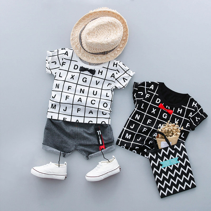Summer Newborn Outfits Gentleman Baby Boys Suit Letter Sports T-Shirt Top+Pant Short Sleeve Infant Clothing Casual Set Clothes