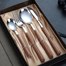 yooap Stainless steel knife spoon fork new wooden handle set cutlery steak knife main meal spoon main meal fork dessert spoon compact heart shaped stainless steel spaghetti fork spoon set