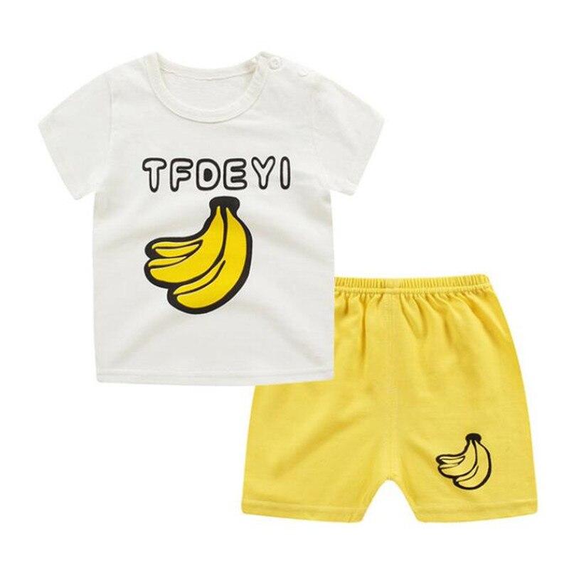 2 Stücke Kinder Kleidung Anzug Baumwolle 1-4 T Kinder Jungen Mädchen Kurzarm T-shirt + Hosen Outfits Baby Kleidung Set Sommer Cartoon Geschickte Herstellung