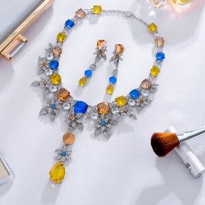 Image 4 - Viennois luxo conjunto de jóias flor design multicolorido cristais colar e brincos conjunto de jóias para mulheres conjunto de jóias de noiva