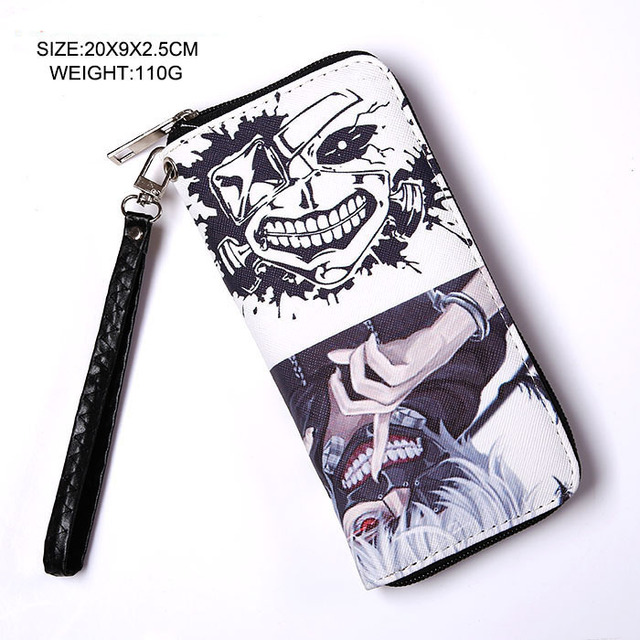 2017 Anime Tokyo Ghouls With Zipper Cartoon Logo PU Leather Long Wallet Money Bag Burse Notecase Purse
