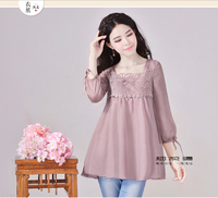 YANHTA Roral Court Lantern Sleeve Social Girl Sweet Lace Casual Loose Plus Size Chiffon Pink Purple