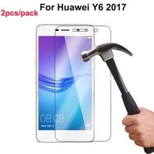 2pcs Tempered Glass Huawei Y6 2017 Screen Protector Protective Film pelicula de vidro Case