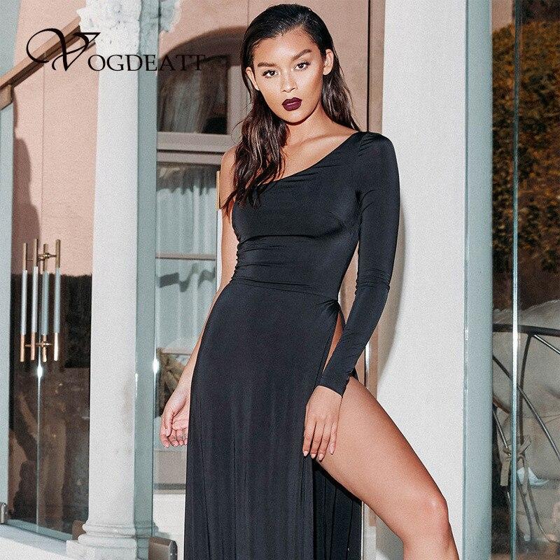 6ef8c8f144 Detail Feedback Questions about 2018 Black One Shoulder Maxi Long Dress  Women Elegant Party Club Dress High Split Leg Sexy Dresses Female Long  Sleeve ...