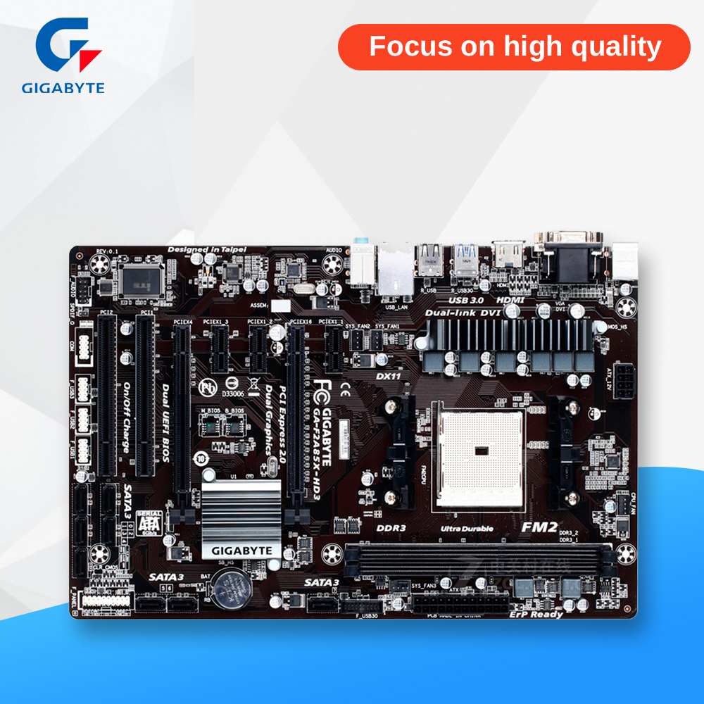 Gigabyte GA-F2A85X-HD3 Desktop Motherboard F2A85X-HD3 A85X Socket FM2 DDR3 SATA3 USB3.0 ATX gigabyte ga 870a usb3 original used desktop motherboard amd 870 socket am3 ddr3 sata3 usb3 0 atx