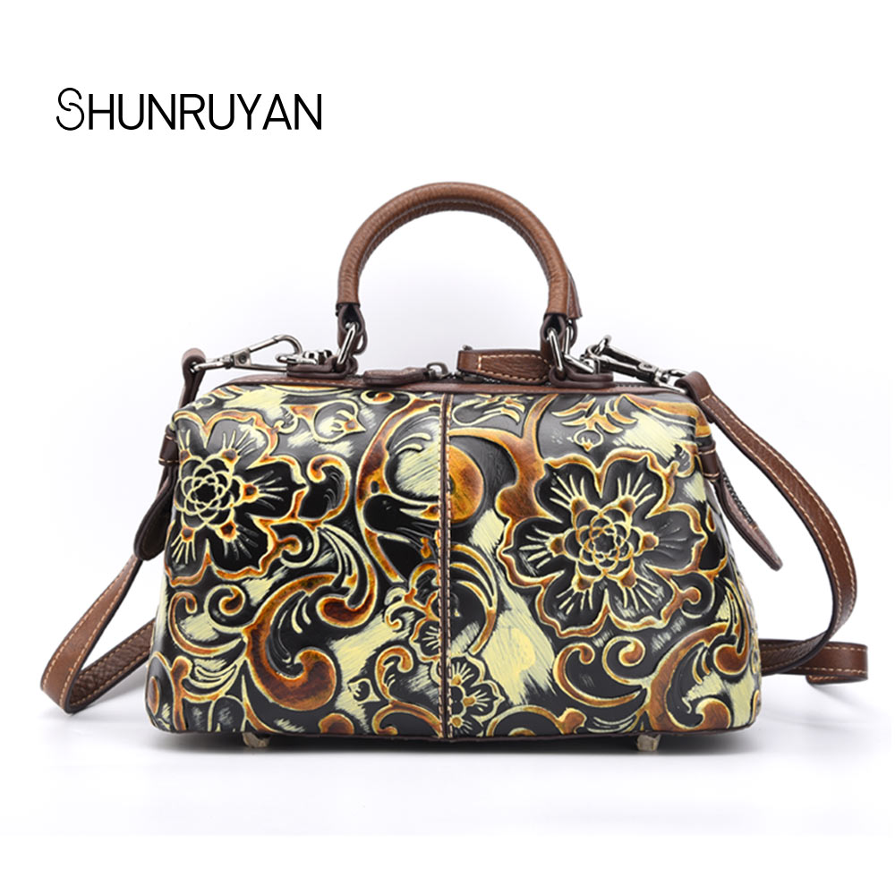 SHUNRUYAN New Ladies Hand bag Famous Brand Printing Flower Cowhide Leather Women Handbags Shoulder Bag For Female Tote Bags women genuine leather handbags ladies personality new head layer cowhide shoulder messenger bags hand rub color female handbags