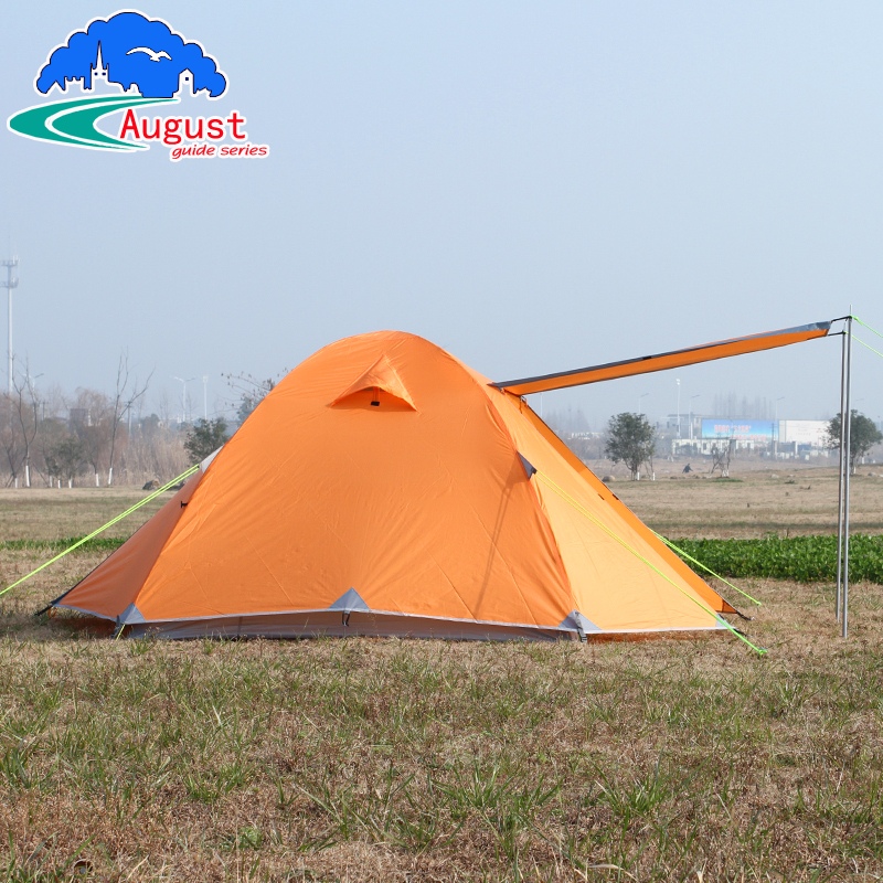 August Outdoor 3-4 people storm weather windproof double camping fishing tents aluminum alloy pole tent цена и фото