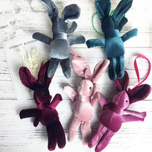 Korean version of the velvet wishing rabbit eternal bouquet plush pendant doll with hand bag accessor