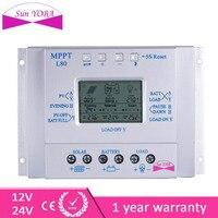 LCD 80A 12V 24V MPPT Solar Controller Regulator Charge Battery Safe Protection Intelligent With Temp Sensor